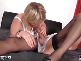 Sissy Slut In White Panties Gets Spit Roasted Before Facial