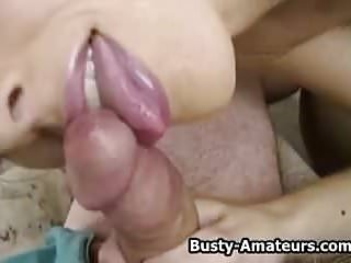 Busty Amateur Kurious Sucking On Cock
