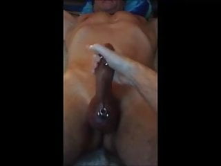 Me Milking A Big Pierced Straight Bull Cock - Second Time