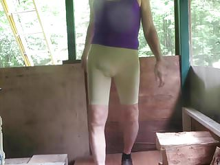 Sissy Bitch In Spandex , Visible Pink Panties.