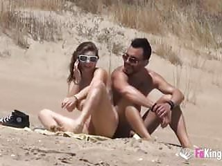 She Fucks A Guy In A Beach Full Of Voyeurs